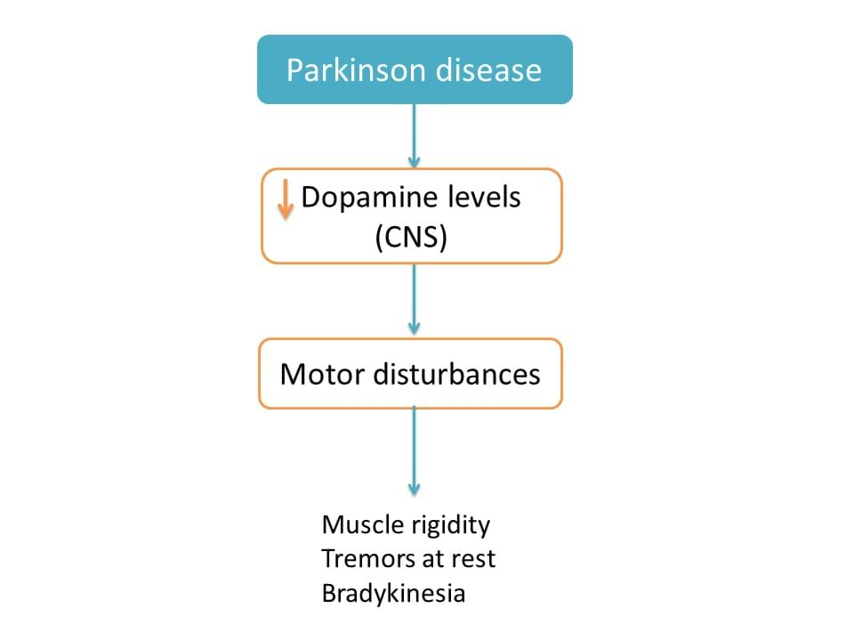 Decrease in dopamine levels in parkinson disease