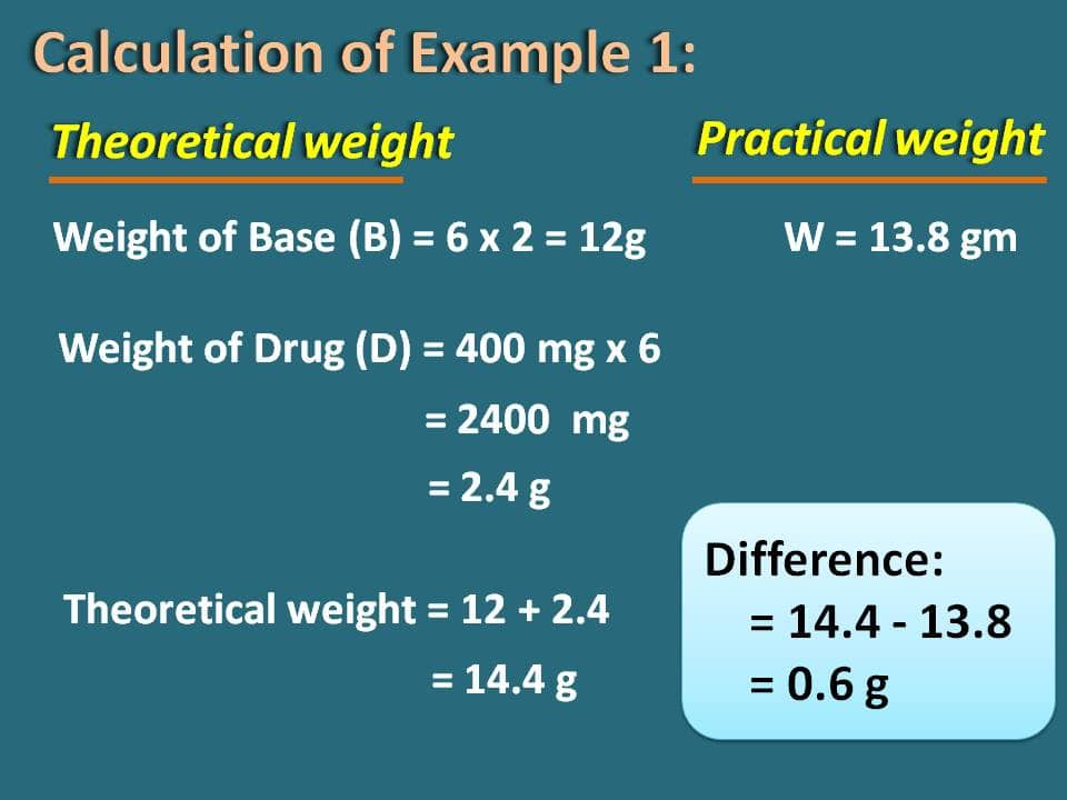difference of weights example 1