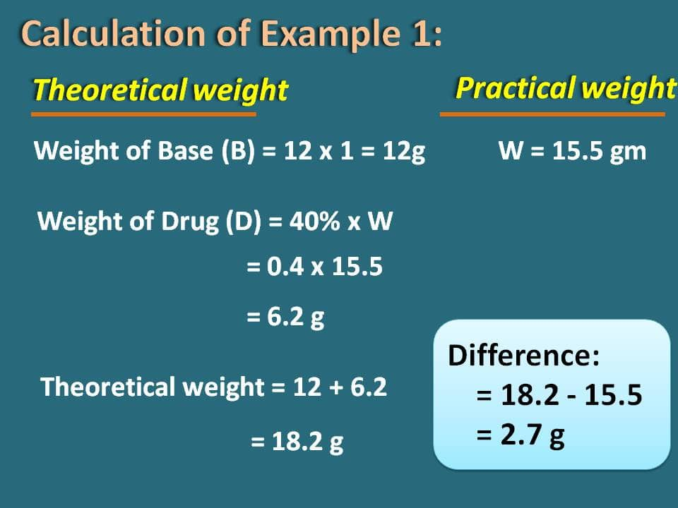 difference in weights example 2