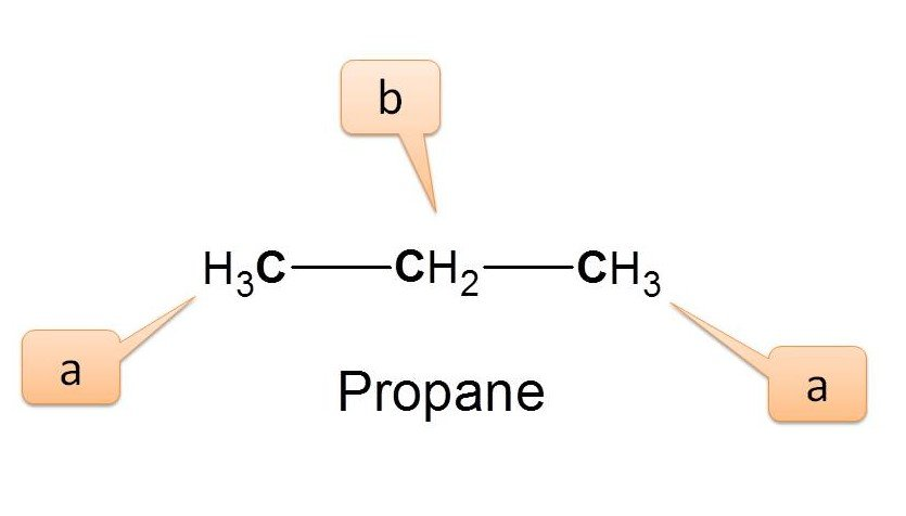 Different types of protons in propane