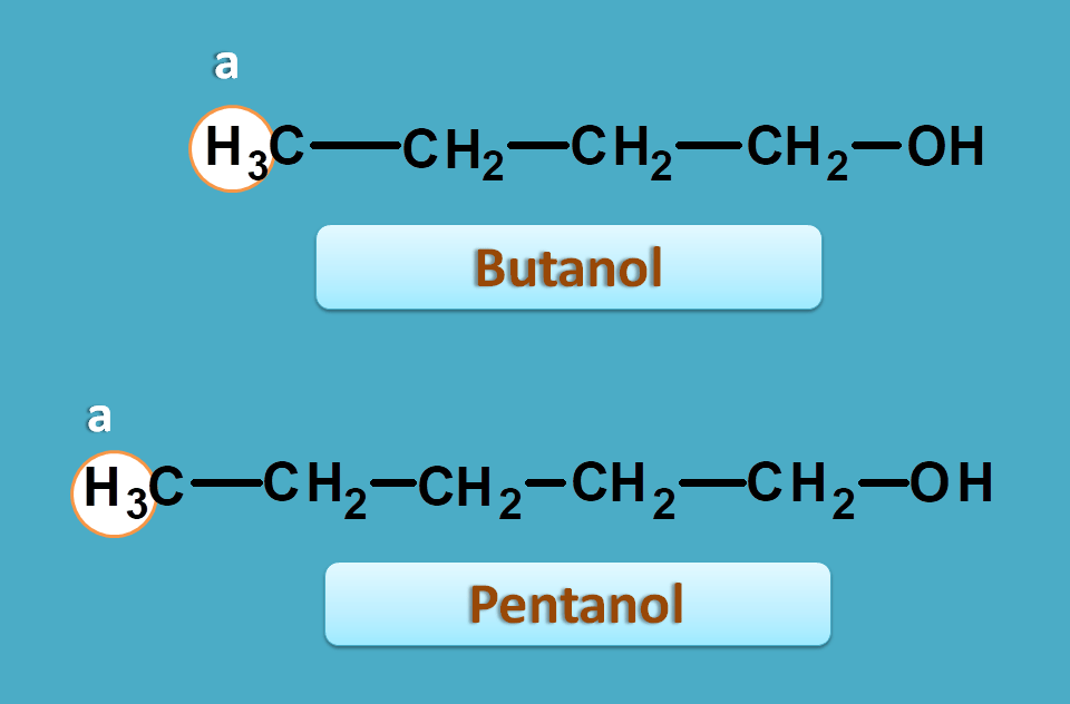 Methyl proton in butanol and pentanol
