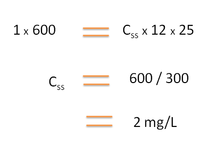 Calculation of steady state concentration in SR products
