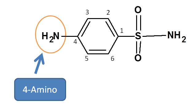 Amino group at para position in sulfanilamide