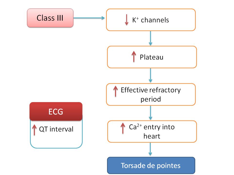 Torsade de pointes due to class III action increasing QT interval