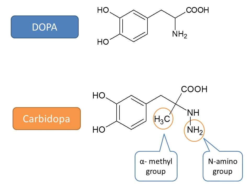 structure of carbidopa in comparison with dopa