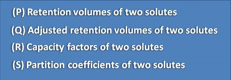Retention volumes of two solutes